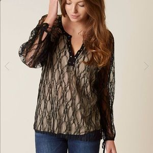 Gimmicks Long Sleeve Lace Black Gold Top